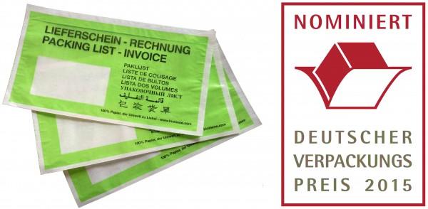 Papier Dokumententasche Grün DIN Lang (250 Stk.)